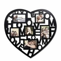 """Adeco Decorative Black Wood """"Heart and Home"""" Wall Hanging Collage Picture Photo Frame"""