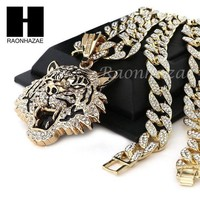 Mens 14k Plated Drake Tiger Pendant W/ 30' Iced Out Cuban Link Chain Nn032g