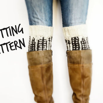 City Skyline Boot Cuff Pattern, DIY Knitting Pattern, Knit Boot Cuffs Instant Download, Patterned Boot Cuffs