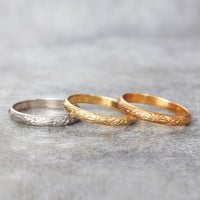Engraved Sunshine Wedding Band