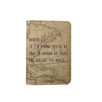 Wanderlust World Map [Name Customized] Leather Passport Holder - Leather Passport Cover - Travel Accessory- Travel Wallet for Women and Men_SCORPIOshop