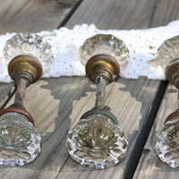 Glass Vintage Door Knobs MINT CONDITION  1910's Listing 1 Door Knob -Spindle 2 screws
