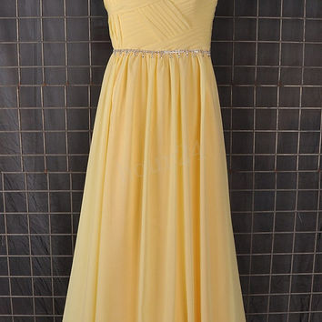 Yellow Beaded Long Bridesmaid Dresses, Formal Prom Dress, Party Dresses,Evening Dresses,Wedding Party Dress, Bridesmaid Dress