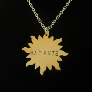 NAMASTE Necklace, Brass Hand Stamped Sun Necklace
