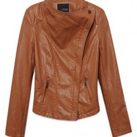 Women Double Zips Leather Jacket Slim-Fitting High Waist Long Sleeve Brown Lapel Outfit M/L@MF11807br