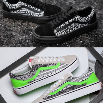 "Vans""Low help fluorescent green men and women shoes skateboard"