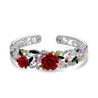 Bling Jewelry Rose Cuff