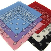 6 Color Pack Double Sided Print Paisley Bandana Scarf, Head Wrap 008
