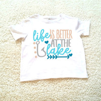 Life is better at the lake graphic tee, children's Tshirt. Sizes 2T, 3t, 4t, 5/6T funny graphic kids shirt