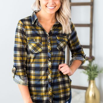 Plaid Button Up- Mustard