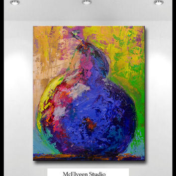 Pear Painting  10 x 12 inch Original still life art on canvas  by Claire McElveen
