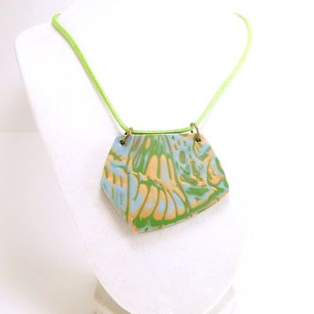 Mokume Cane Pendant Necklace, Handmade Polymer Clay Jewelry
