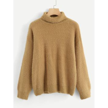 Plus Rolled Neck Fuzzy Jumper