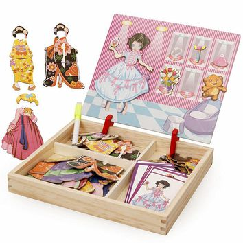 Girls Dressing Jigsaw drawing board Princess puzzle Wodden Puzzles Magnetic puzzles Educational toys