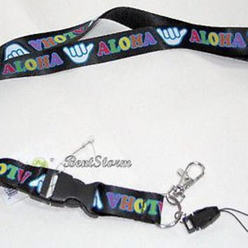 Licensed cool ALOHA Hawaii Shaka Lanyard Key Holder Phone FOB Quick Release Keychain NWT