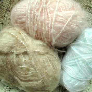 Yarn Destash lot grab bag stash acrylic mohair type knitting crochet supply soft fuzzy pink tan natural turquoise blue sale yarn