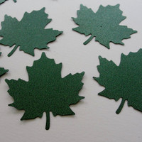 Autumn Fall Glitter Green Leaf Leaves Paper Cut Outs Cutouts Scrapbook Embellishments Tags Decorations  Set of 16