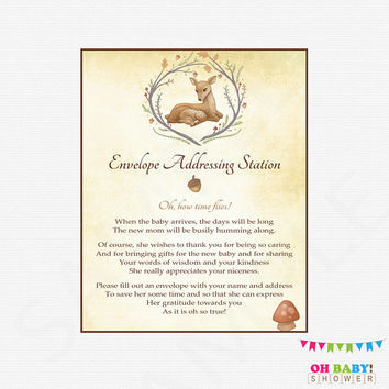 Deer Baby Shower Sign Envelope Addressing Station Woodland Baby Shower Games Deer Rustic Shower Instant Download Printable Rustic DEER1