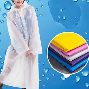 Women Girls Transparent PVC Vinyl Raincoat Runway Style Waterproof Rain Coat TBU