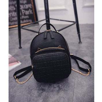 2016 Spring & Summer Trend Women's Cat Backpacks Girls' Fashion Bag Travel PU leather Bags Students' Backpacks