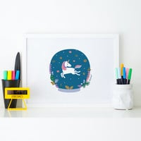 Illustration print Unicorn and donuts | Original Zezling! illustration poster | Kids room decor poster | Wall art print | Blue Nursery Decor