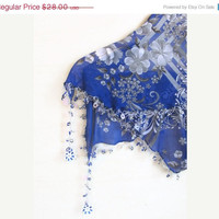 Cobalt Blue scarf - Tringle Traditional Turkish Oya  Scarf loop scarf woman scarf