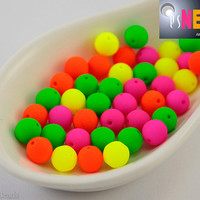 Neon Green Beads 6mm UV active (50) Czech Glass Round Druk Frosted Matte Bright Colorful Pressed