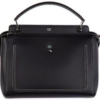 Fendi women's leather handbag shopping bag purse dotcom black