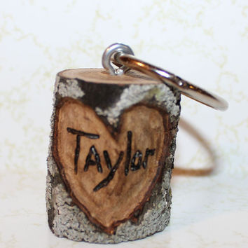Personalized Tree Branch Keychain - Have initials or name and/or date wood burned in the heart - Wedding Favors
