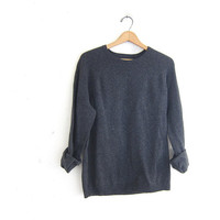 Vintage charcoal gray sweater. cotton / wool sweater. size Medium