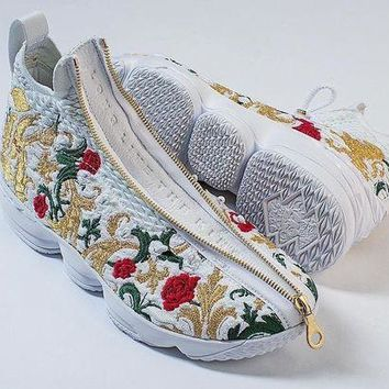 "Nike LeBron James 15 XV "" Flowers""Fashion Casual Men Women Sport Running Basketball Shoes I"