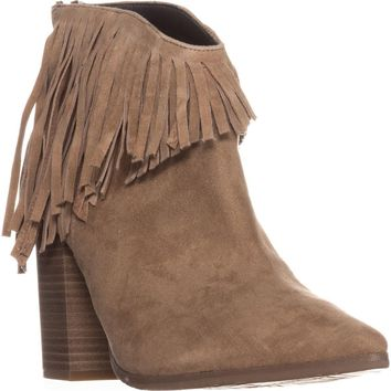 Kenneth Cole REACTION Pull Ashore Fringe Ankle Booties, Almond, 8 US / 39 EU