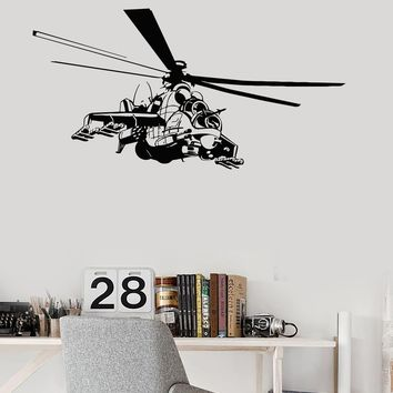 Wall Decal Helicopter Air Force Flight Military Boys Room Vinyl Mural Unique Gift (ig2892)