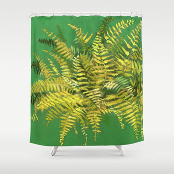 Golden Fern, floral art, green and yellow Shower Curtain by Clipso-Callipso