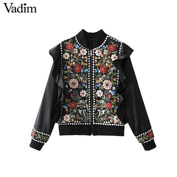 Vadim women vintage flower embroidery beading ruffles jacket coat with lining retro ethnic outerwear black tops CT1453