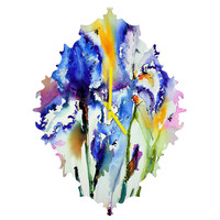 Ginette Fine Art Bearded Irises Baroque Clock