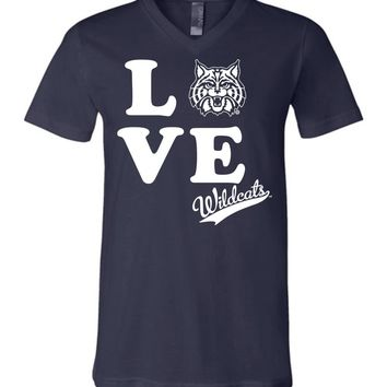 Official NCAA Venley University of Arizona Wildcats U of A Wilber Wildcat BEAR DOWN! Love Unisex V-Neck T-Shirt - UOFA2412