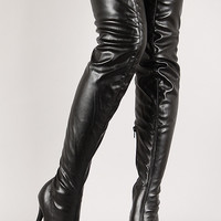 Leatherette Thigh High Almond Toe Boot