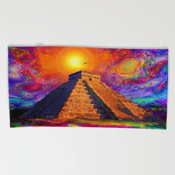 Mayan Pyramid   Beach Towel by JT Digital Art