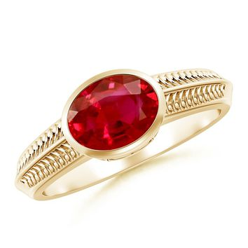 Solitaire Ruby Vintage Ring With Ceres Carving