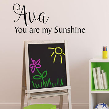 You are my Sunshine Children's Decor- by Decor Designs Decals, Custom Name, Children's Wall Decal, Vinyl Wall Art, Vinyl Decal nursery wall decal, girl bedroom B38