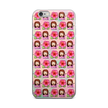 Flower Girl Emoji Collage Teen Cute Girly Girls Pink iPhone 4 4s 5 5s 5C 6 6s 6 Plus 6s Plus 7 & 7 Plus Case
