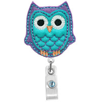 Cute Purple Blue Owl-Badge Holder - Nurses Badge Holder - Cute Badge Reels - Unique ID Badge Holder - Felt Badge - RN Badge Reel