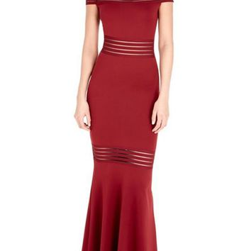 Red Patchwork Grenadine Bandeau Boat Neck Mermaid Homecoming Maxi Dress