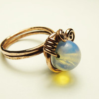 moon stone ring - copper wire wrapp moon stone ring - handmade