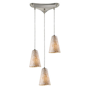 10142/3 Capri 3 Light Pendant In Satin Nickel And Capiz Shell - Free Shipping!