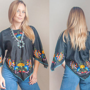 70s Black Embroidered Bell Sleeve Blouse | Womens XS S M 1970s Bohemian Hippie Mexican Embroidery Peacock Peasant Top | Ethnic Boho Chic Top