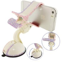 Ancerson Luxury Pink Transparent Colorful Bling Handmade Crystal Diamond Rhinestones Universal Multi-function Portable 360 Degree Rotating Suction Cup Mini Desk Car Mount Clip Stand Holder for Smartphones Mobile Phones(Not bigger than Galaxy Mega 6.3): iPo