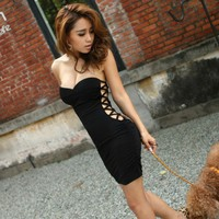 Sexy Side Openwork Design Low-Cut Srapless Mini Black Dress For Wom...... | paradise - Clothing on ArtFire