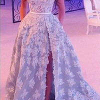 Don's Bridal New Arrival Side Slit A-Line Prom 2016 Sexy Backless Sweetheart Lace Applique Long Evening Dress Violet Party Gown